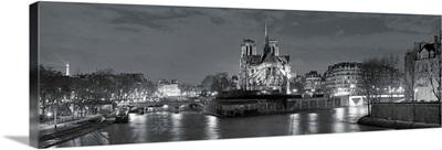 Notre Dame and Eiffel Tower at dusk, Paris, Ile-de-France, France B