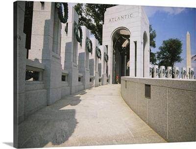 Obelisk in front of a war memorial, National World War II Memorial, Washington DC