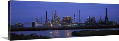 Oil refinery at dusk Texas