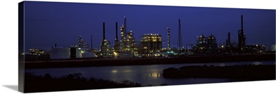 Oil refinery at night, Texas