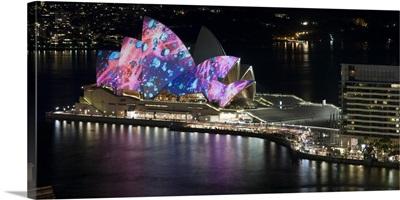 Opera house lit up at night, Sydney Opera House, Sydney, New South Wales, Australia