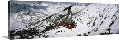 Overhead cable car in a ski resort, Snowbird Ski Resort, Utah