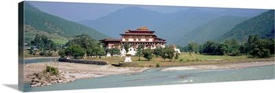 Palace on a riverbank, Punakha Dzong, Punakha, Bhutan
