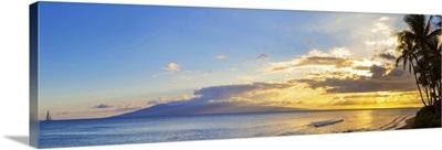 Palm trees on the beach at dusk, Kaanapali, Maui, Hawaii