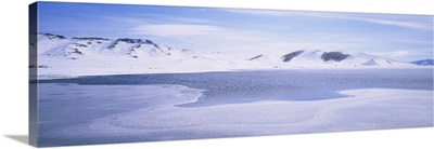 Panoramic view of a snowcapped landscape, White Lake, Uvurkhangai Aimag, Independent Mongolia