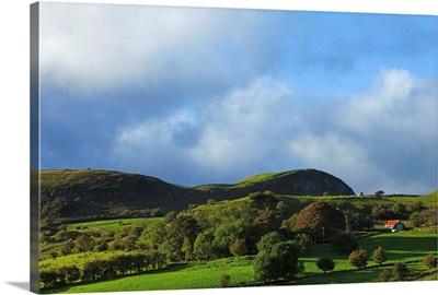 Pastoral Countyside and Hill Farm Near Leean Mountain, County Leitrim. Ireland