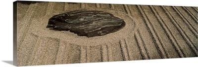Pattern on sand around a rock at a temple, Ginkaku-Ji, Sakyo Ward, Kyoto, Kyoto Prefecture, Kinki Region, Honshu, Japan