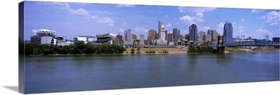 Paul Brown Stadium with John A. Roebling Suspension Bridge, Cincinnati, Ohio