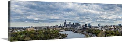 Philadelphia Skyline at waterfront, Schuylkill River, Pennsylvania
