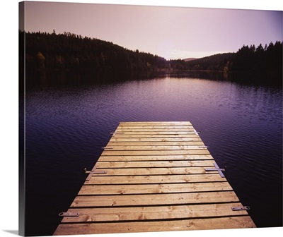 Pier on a lake, Northern Black Forest Region, Baden-Wurttemberg, Germany