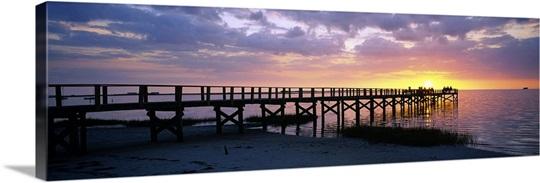Pier On The Beach Crystal Beach Florida Wall Art Canvas