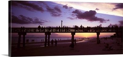 Pier on the beach, Fort Myers Beach, Estero Island, Lee County, Florida,
