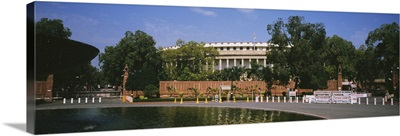 Pool in front of a government building, Parliament Building, New Delhi, India