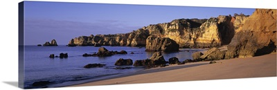 Portugal, Lagos, Algarve Region, Panoramic view of the beach and coastline