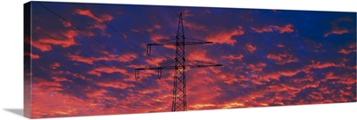 Power lines at sunset Germany