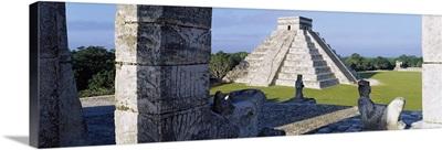 Pyramid in a field, El Castillo, Chichen Itza, Yucatan, Mexico