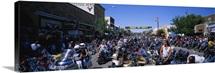 Racers preparing for motorcycle rally, Sturgis, South Dakota