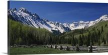 Rail fence on a landscape, Dallas Divide, Sneffels Range, San Juan Mountains, Colorado