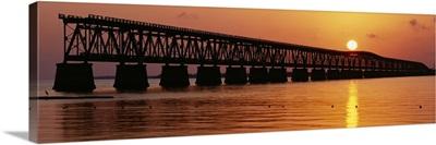 Railroad bridge at sunset, Florida Keys, Florida