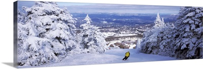 Rear view of a person skiing, Stratton Mountain Resort, Stratton, Windham County, Vermont