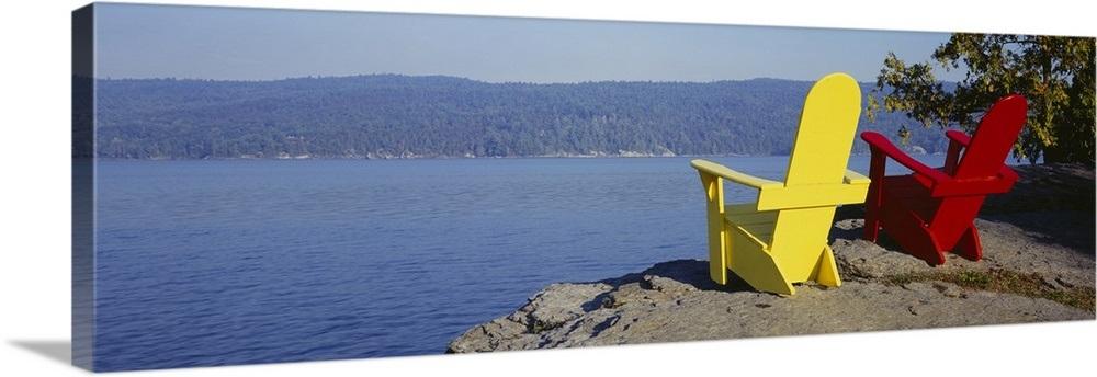 Red And Yellow Adirondack Chairs Near A Lake, Champlain Lake, Vermont