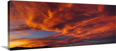 Red dramatic sky during sunset, Taos, Taos County, New Mexico
