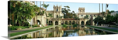 Reflecting pool in front of a building Balboa Park San Diego California