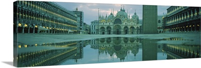 Reflection of a cathedral on water, St. Marks Cathedral, St. Marks Square, Venice, Veneto, Italy