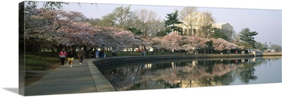 Reflection of a monument in a river, Jefferson Memorial, Potomac River, Washington DC