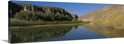 Reflection of a mountain in a river, Rio Grande River, Big Bend National Park, Texas