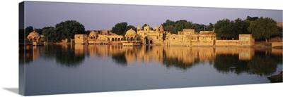 Reflection of a temple in water, Gadi Sagar Lake, Gadi Sagar Temple, Jaisalmer, Rajasthan, India
