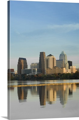Reflection of buildings in water, Town Lake, Austin, Texas