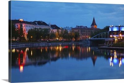 Reflection of buildings on water, Atlantis Cafe, Emajogi River, Tartu, Estonia