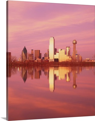Reflection of buildings on water, Dallas, Texas