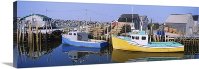 Reflection of motorboats in water, West Berlin, Nova Scotia, Canada