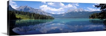 Reflection of mountain on Emerald Lake, Yoho National Park, British Columbia, Canada