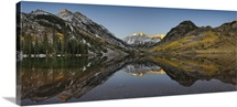 Reflection of mountains in a lake, Maroon Bells, Aspen, Pitkin County, Colorado