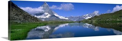 Reflection of mountains in water, Riffelsee, Matterhorn, Switzerland