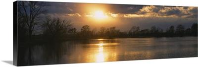 Reflection of sun in water, West Memphis, Arkansas