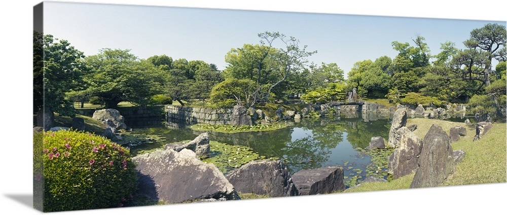 Reflection of trees in a pond, Ninomaru Garden, Nijo Castle, Kyoto Prefecture, Japan Wall Art