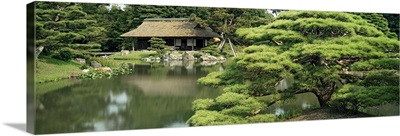 Reflection of trees in water, Tea House, Imperial Gardens, Kyoto Prefecture, Honshu, Japan