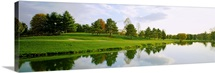 Reflection of trees on water, Westwood Country Club, Fairfax County, Virginia