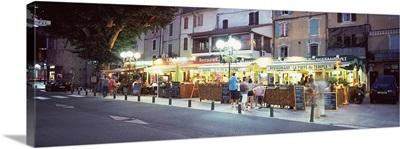 Restaurants at roadside, Anduze, Gard, Languedoc Roussillon, France