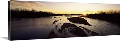 River at sunset, Platte River, Nebraska