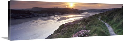 River flowing at sunset Porth Newquay Cornwall England