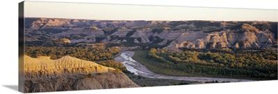 River passing through a landscape, Little Missouri River, Badlands, Theodore Roosevelt National Park, North Dakota