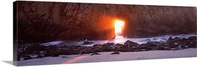 Rock formation on the beach, Pfeiffer Beach, Big Sur, California,