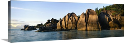 Rock formations at the waterfront, Anse Source Dargent Beach, La Digue Island, Seychelles