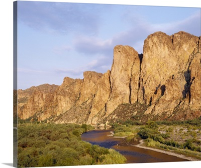 Rock formations in front of a river, Salt River, Phoenix, Arizona