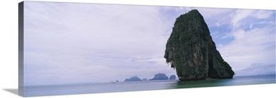 Rock formations in the sea, Hat Tham Phra Nang, Krabi, Thailand